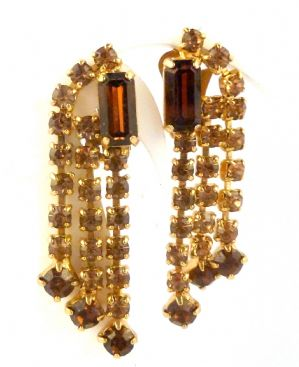 Vintage Smoky Topaz And Amber Rhinestone Drop Clip On  Earrings.